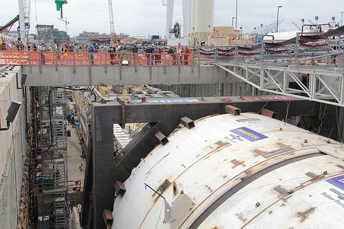 Bertha the tunnel borer getting ready for construction for the viaduct repairs. Image Courtesy Flickr User: Ben Brooks